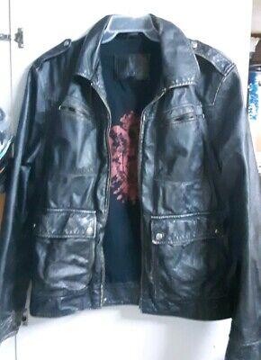 Guess Men's Leather Jacket (Black) Large