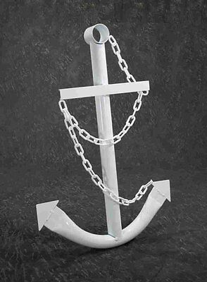 White Anchor Wall Yard Art Decor 3' Metal Nautical Navy Outdoor Decorative New ()