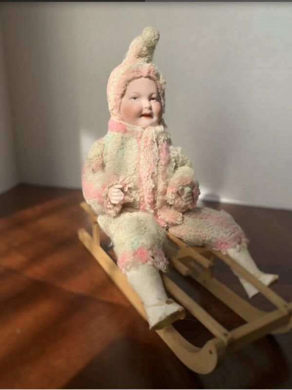 """9"""" Antique All Original Heubach Child Candy Container on Sled"""