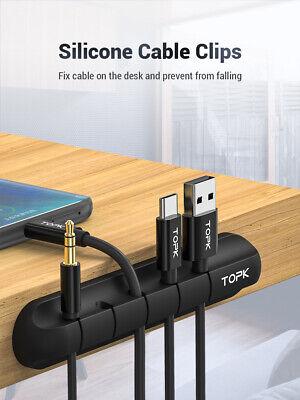 Organizador Cables Silicona 5 Agujeros Escritorio Cargador Cable Soporte Clip