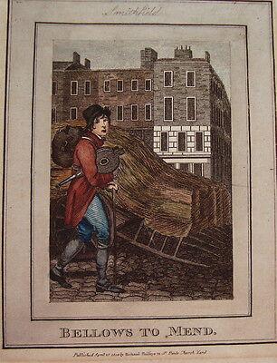 Reet Reetdach Dachdecker  Kaufruf  altkolorierter sehr seltener Kupferstich 1804