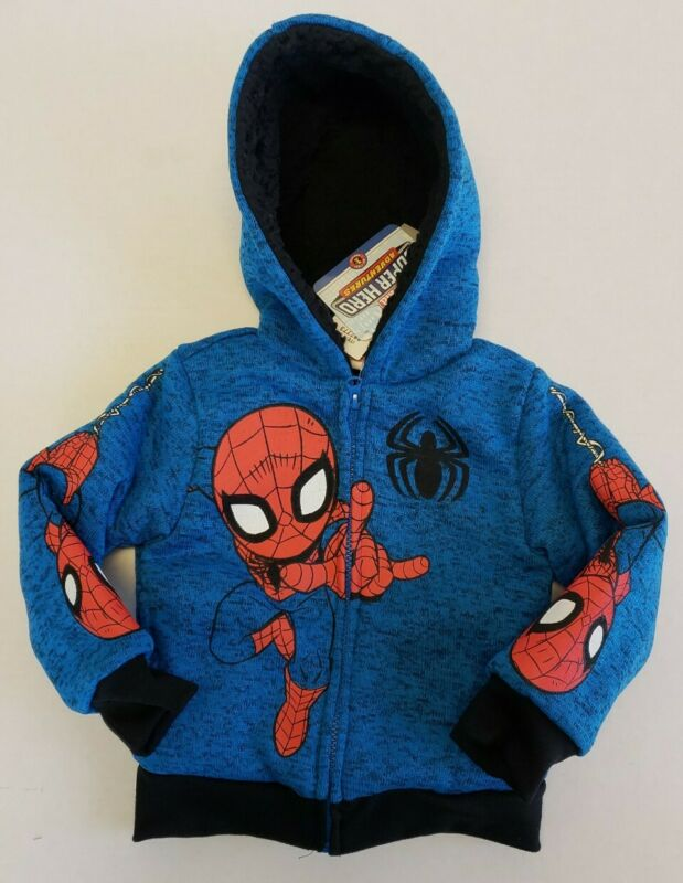 Marvel Super Hero Adventures Spider-man Boys Hoody, Sherpa Lined - Size 3T or 4T