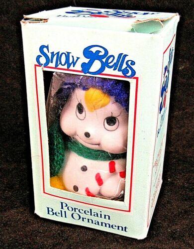 """Snow Bells Bisque Porcelain Snowman Christmas Hat Scarf 3.75""""  Vintage"""