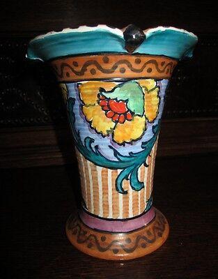 "Art Deco Rare Burgess & Leigh , Burleigh Ware  "" W Adams ""Hand Painted Vase"