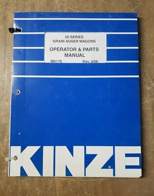 Kinze 50 Series M0176 Grain Auger Wagons Operator Parts Manual 1j-3092-m2