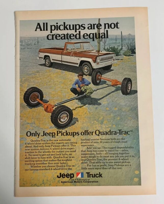 1974 Jeep Pickup Truck Quadra-Trac 4 Wheel Drive Print Ad Advertisement Vintage