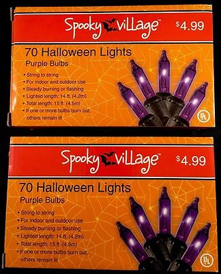 Halloween string lights - indoor/outdoor - purple bulbs - 2 boxes of 70 - NIB](Purple Halloween Lights)