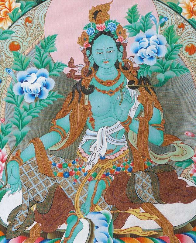 "16"" NATURAL MINERAL COLOR SILKPRINT CLASSIC TIBET THANGKA:BEAUTIFUL GREEN TARA ="