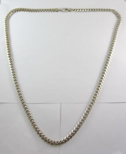"Estate Stunning 10k White Gold 33-3/16"" Cuban Link Necklace 142.6g Gia $6,963.00"