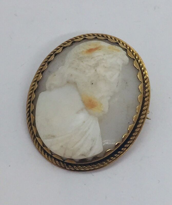 Antique Victorian 14k Yellow Gold Cameo Of Man Pin