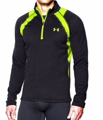 UNDER ARMOUR MENS BASE EXTREME SCENT CONTROL CAMO HUNTING 1/4 ZIP TOP BLACK 2XL