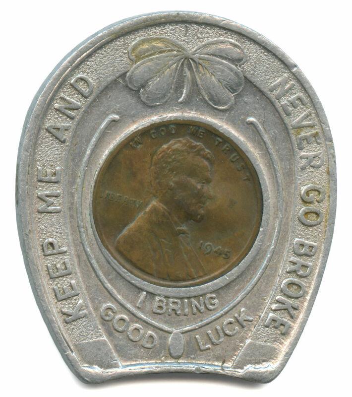 Bar of Music Reno, Nevada Good Luck Penny Token Encased 1945 Lincoln Cent