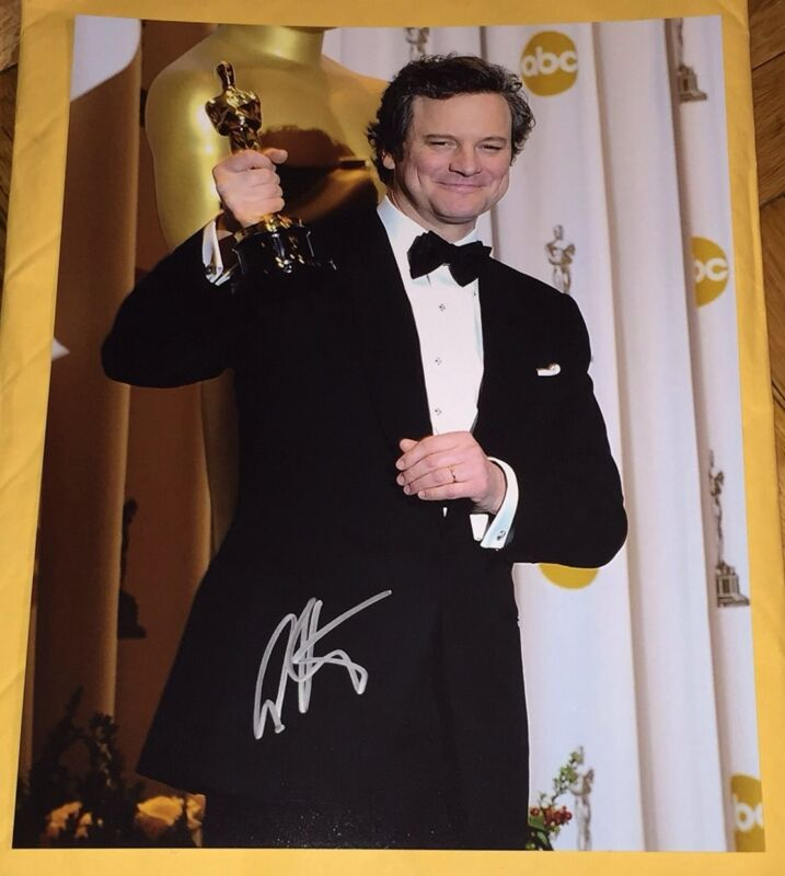 COLIN FIRTH SIGNED AUTOGRAPH OSCARS TROPHY IMAGE CLASSIC SUIT 11x14 PHOTO COA