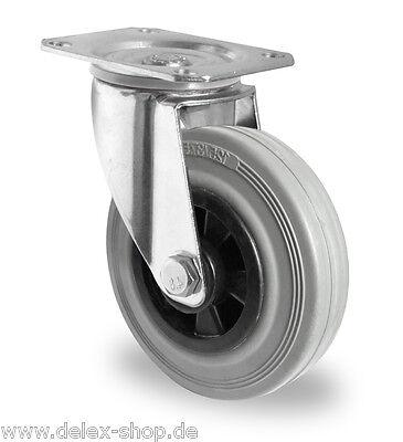 Transportgeräterolle Gummi grau spurlos 200 mm Platte Lenkrolle ohne Bremse Rad