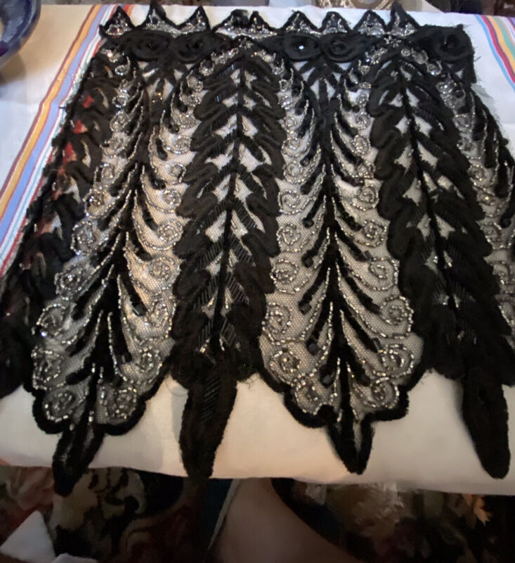 antique victorian beaded embroidery Black And Silver, 2 Panels