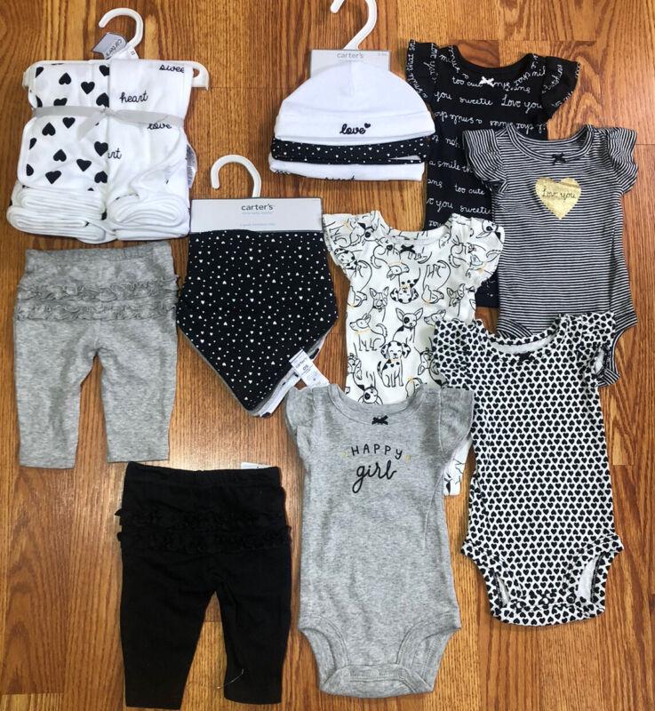 15 piece Carter's Girl Baby Shower Gift Set Black White NEWBORN