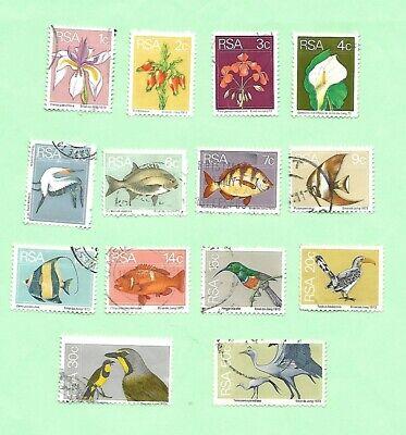 South Africa 1974 Definitive part set 14 Stamps Flora/Fauna FU.