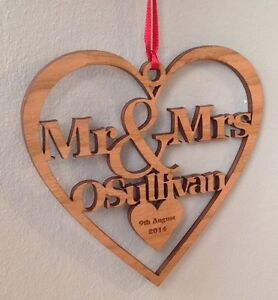 Personalised Christmas Tree Decoration wood First Christmas mr & Mrs Gift Bauble