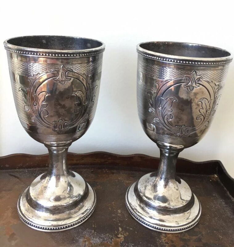 Pair of Goblets (2)  - Rogers Smith & Co New Haven CT No 1378