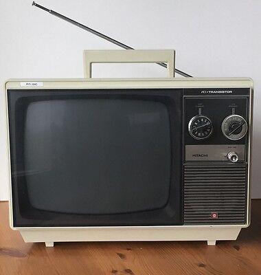 "Vintage Hitachi BlackAnd WhiteTransistor TV 13"" Works Great"