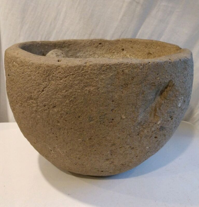 Authentic Native American Stone Mortar Pedestal Bowl Artifact California 62 lbs