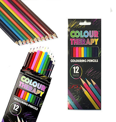 GOOD QUALITY 12x COLOUR THERAPY COLOURING PENCILS FOR SOOTHING STRESS RELIEF  (Good Pencils)