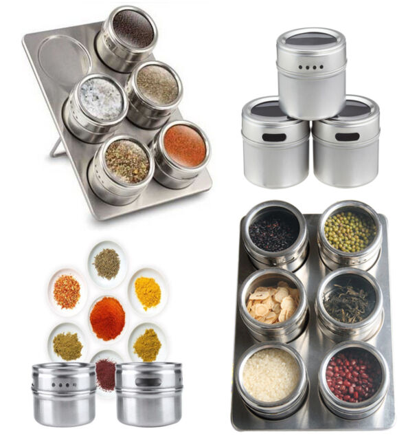 6 PC STAINLESS STEEL MAGNETIC POT HERB SPICE RACK TIN JAR STORAGE HOLDER STAND