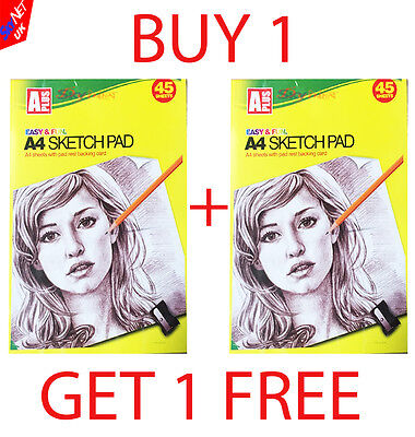 A4 ARTIST SKETCH DRAWING BOOKS PADS 45 SHEETS 70GSM QUALITY NEW