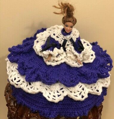 VTG HAND CROCHETED BARBIE DOLL OUTFIT - SOUTHERN BELLE DRESS Purse + Doll - Southern Belle Outfit