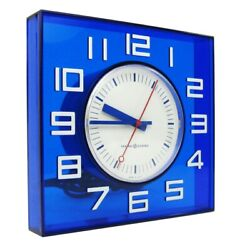 VINTAGE GENERAL ELECTRIC COBALT BLUE WALL CLOCK RETRO MID CENTURY MODERN WORKS