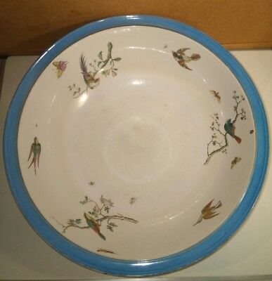 Large Copeland Blue Rimmed Songbirds & Butterflies Victorian Wash Basin 39*13 cm