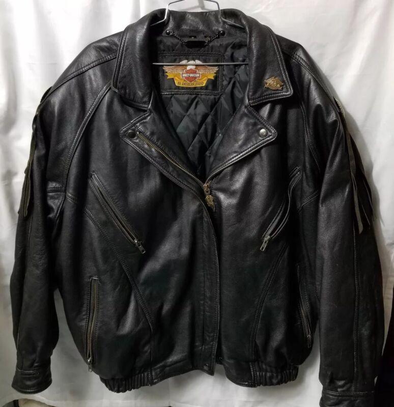 Vintage HARLEY DAVIDSON Black Leather Jacket Women