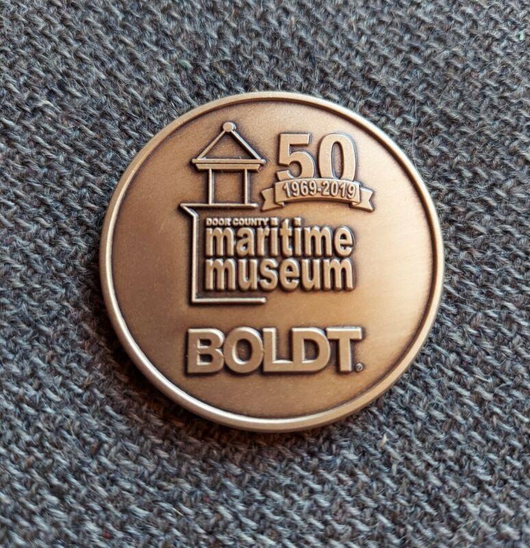 2019 Door County Maritime Museum Lighthouse Tower BOLDT Brass Challenge Coin