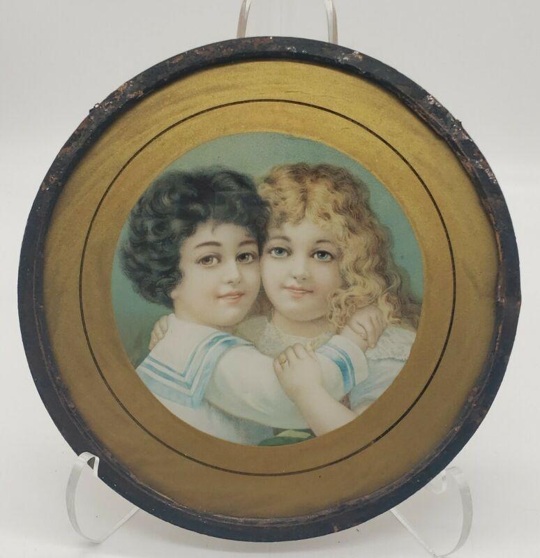 Original Antique Victorian Boy And Girl Hug Flue Cover w Chain