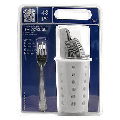 48 Pc. RESTAURANT QUALITY FLATWARE, 12 ea KNIVES, FORKS, TEASPOONS & SOUP SPOONS