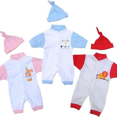 BabyPrem PREEMIE Baby Boys Girls Clothes 2 Piece Romper One-Piece & Hat Set