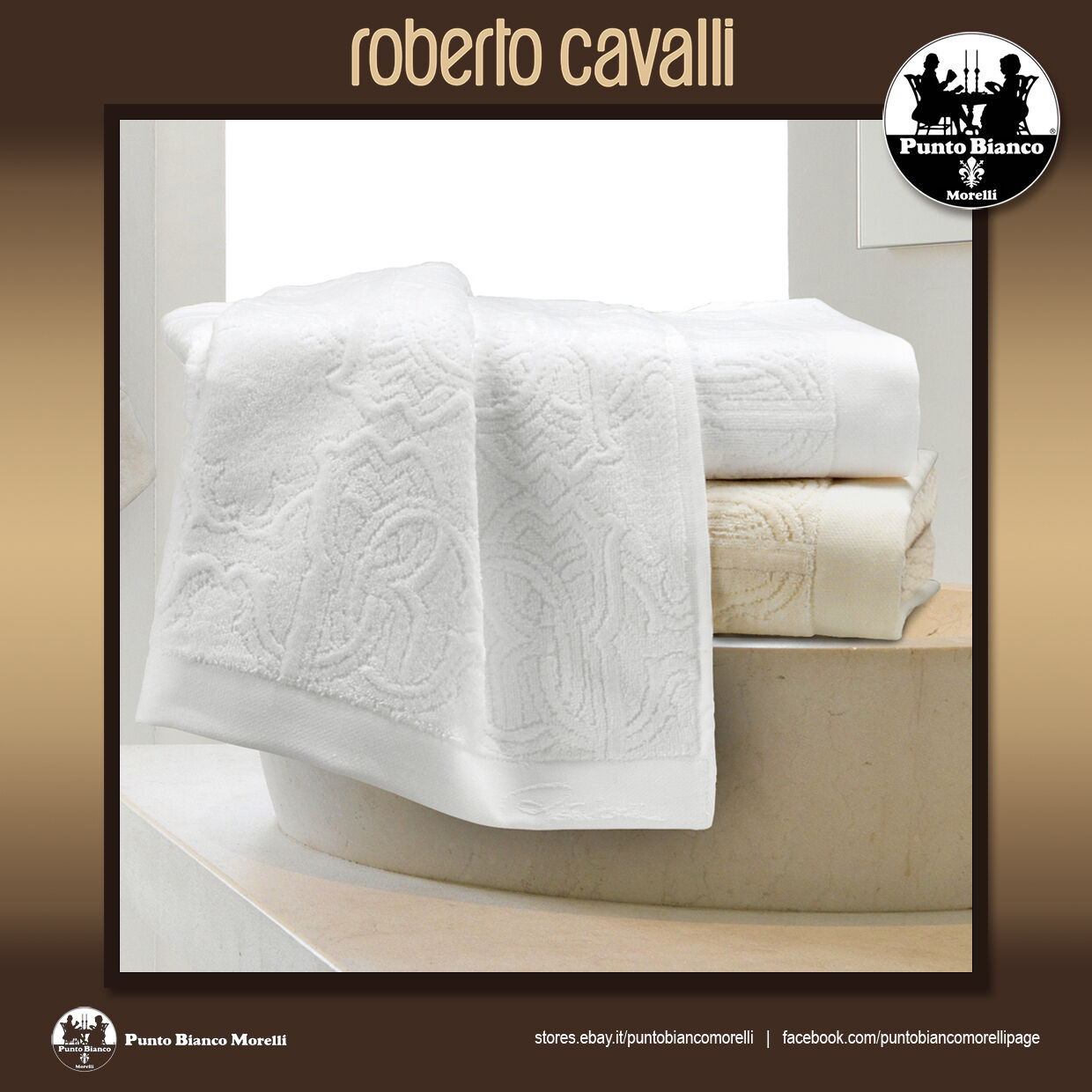 ROBERTO CAVALLI | LOGO Set spugna viso + ospite - Set terry towel 2 pieces