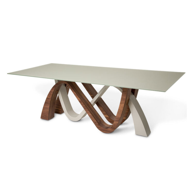 """Trance Rapture Modern Rectangular 91"""" Light Grey Dining Table With Wood Accents"""