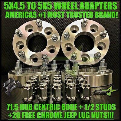 4 WHEEL ADAPTERS 5X4.5 TO 5X5 2 INCH -ADAPTS JEEP JK WHEELS ON TJ YJ KK SJ XJ MJ