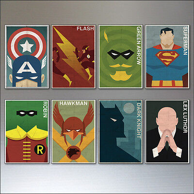 Super Hero And Villain (Vintage Super Hero and Villain fridge magnets Set of 8 large fridge magnets)