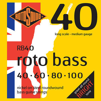 ROTOSOUND RB40 ROTO BASS NICKEL BASS STRINGS, MEDIUM GAUGE 4's - 40-100