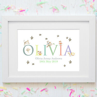 Personalised A4 Print,Nursery Rhyme,Hey diddle,Name,Baby,Gift,Wall Art-NO FRAME