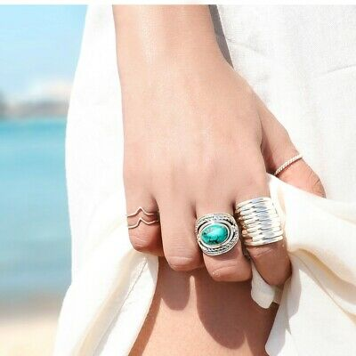 Boho Turquoise Ring Sterling Silver 925 Women Chunky Large Big Stone Size 7 8 9