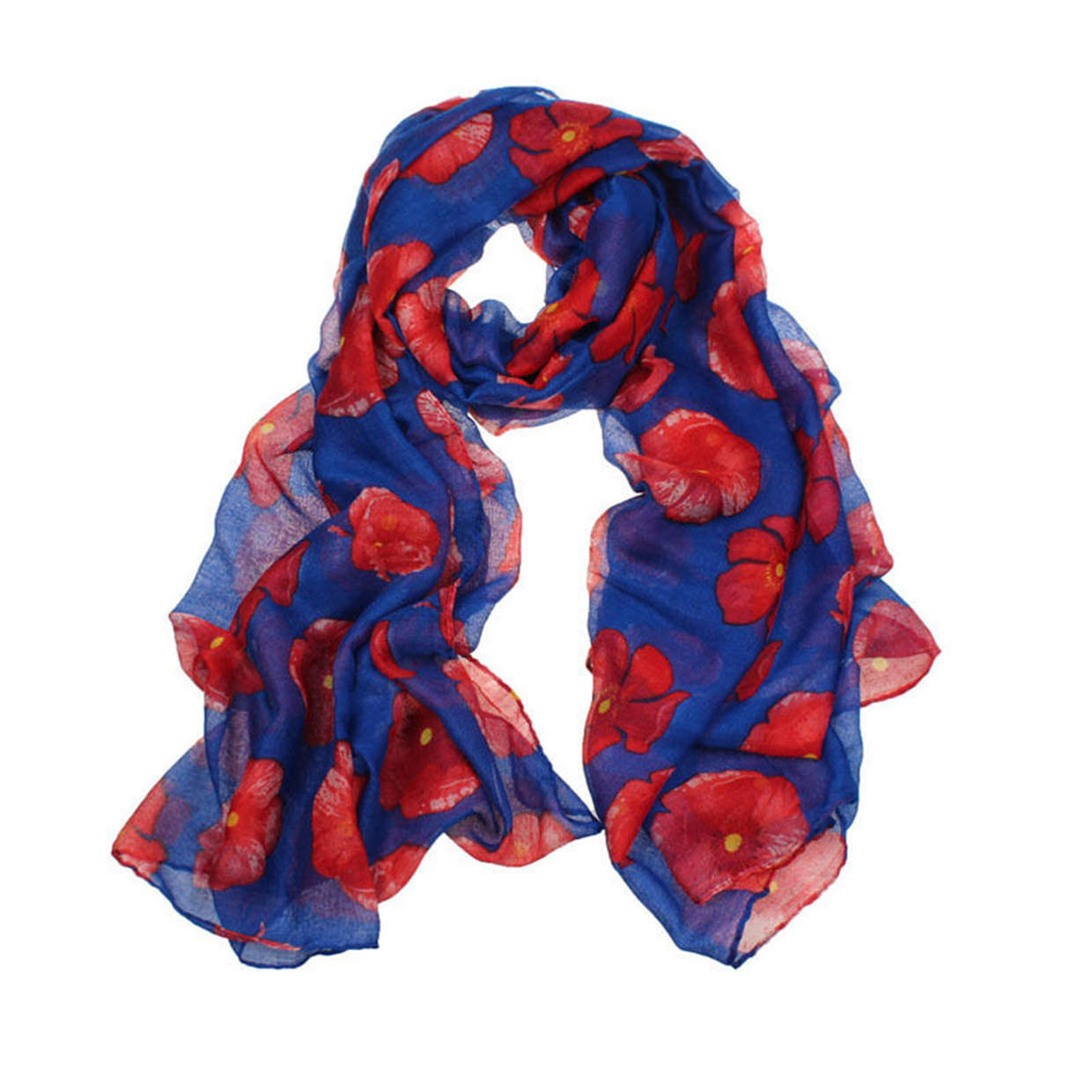 Ladies Poppy Print Floral Scarf Remembrance Day Poppies Scarves Wrap Shawl FN