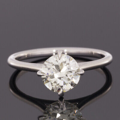 White Gold 1.32ct GIA Certified Old European Diamond Solitaire Engagement Ring