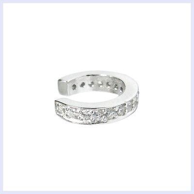 (Rhodium on 925 STR Silver Round Ring Clear CZ Crystal Pave Cuff Earring Ear Wrap)