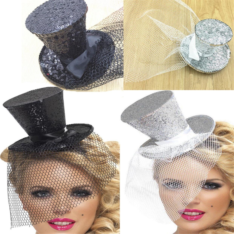 MINI GLITTER TOP HAT HEADBAND VEIL LADIES BURLESQUE HEN NIGHT PARTY FANCY DRESS#