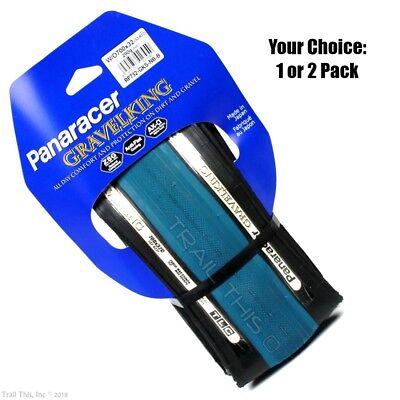 1 or 2-Pack Panaracer Gravel King 700x32 TLC Bike Tire Blue & Black GravelKing ()
