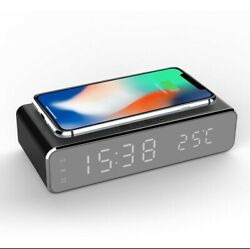 USB Digital LED Desk Alarm Clock With Thermometer Wireless Charger For Samsung X