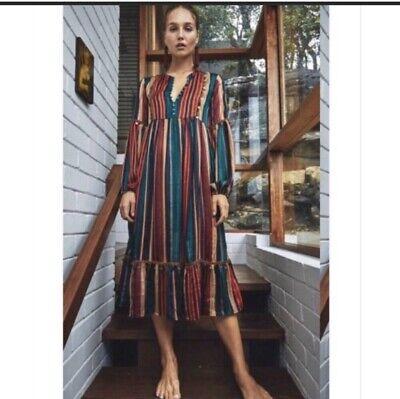 JAASE  Anthropologie Boho Stripe Dress Size S Women's Long Sleeve